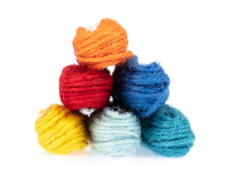 set of wool yarn isolated on white background Stock Photo