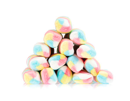 Pile of colorful marshmallows isolated on white background