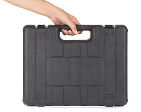Hand holding Plastic case for equipment isolated on white background Stock Photo