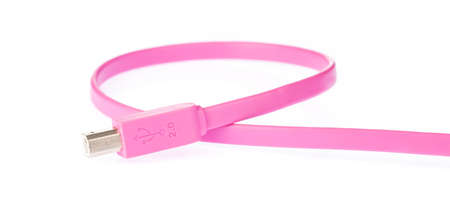 Pink USB cables 2.0 flat 3M isolated on white background