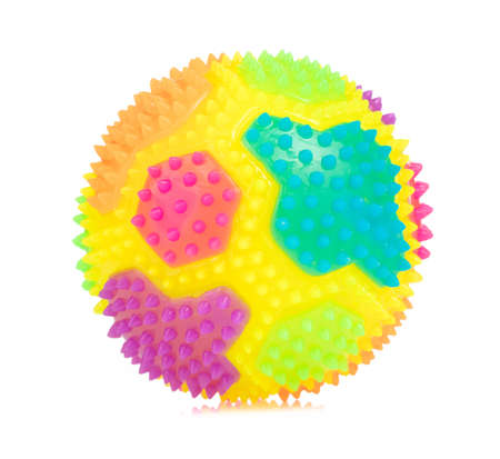 Colorful Massage Rubber Ball with Spikes Isolated on White background Stok Fotoğraf