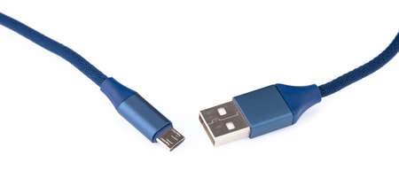Blue USB-Lightning mobile charging cable isolated on white background.