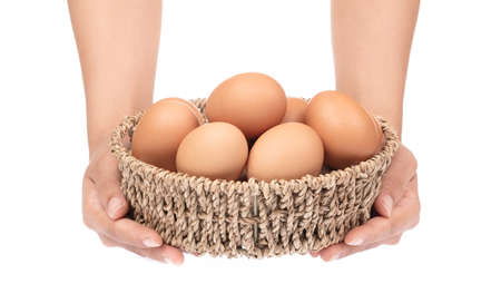 hand holding eggs in basket isolated on white background