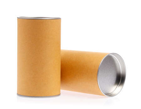 can box craft brown tube packaging isolated on white background