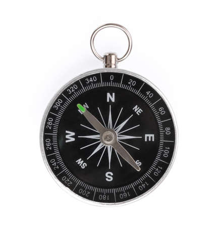 Frontal view of compass isolated on white background 免版税图像