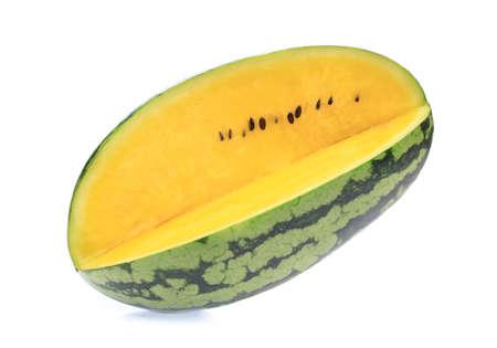 fresh yellow watermelon slice isolated on white background