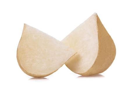 slice jicama isolated on white background