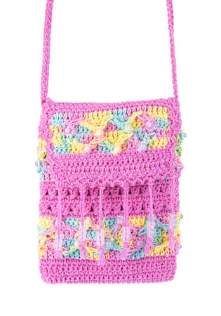 Crochet knitting bag isolated on white background