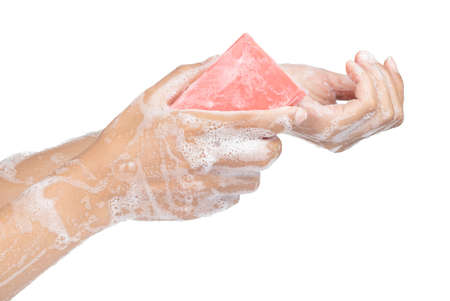 Washing hand with soap isolated on white background 스톡 콘텐츠 - 124479151