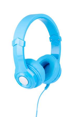Blue Headphones Isolated on White Background Stock Photo