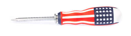 screwdriver with the american flag isolated on white background 写真素材