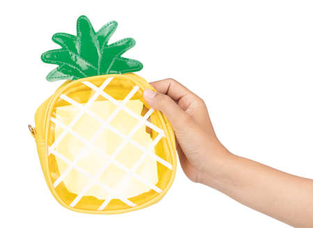 Pineapple Shape Clutch Purse Cross Body Bag Shoulder Bags For Girls isolated on a white background