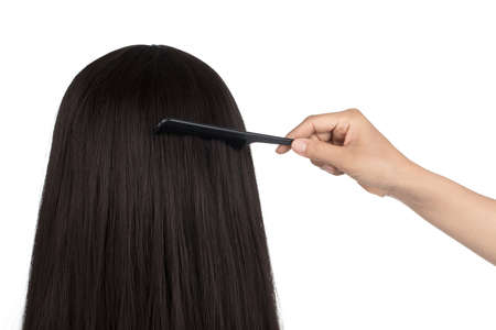 hairdresser does hair with black comb of the girl with long hair isolated on white background.