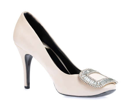 White shoe high heels isolated on white background Imagens