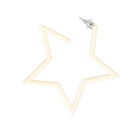 Plastic star earrings isolated on a white background Imagens - 124889619