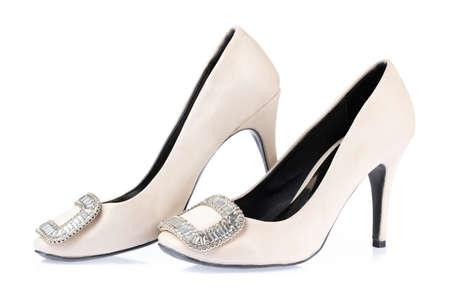 White shoe high heels isolated on white background Imagens - 124889650
