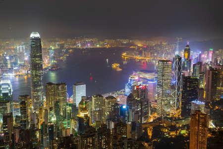 Hong Kong - March 19, 2016:Night view of Hong Kong
