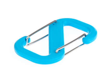 Locking carabiner blue isolated on a white background