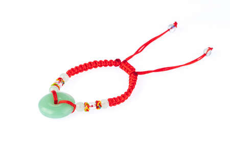 Lucky Red Thread Bracelets for Women Chinese Antique isolated on white background