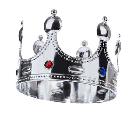 Silver Crown with jewel isolated isolated on white background