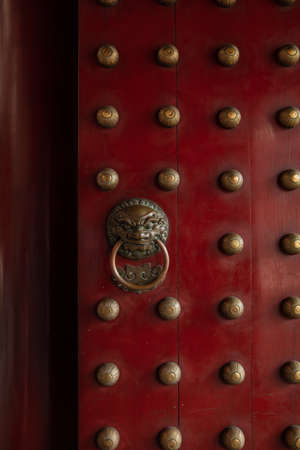 detail of a Red temple door