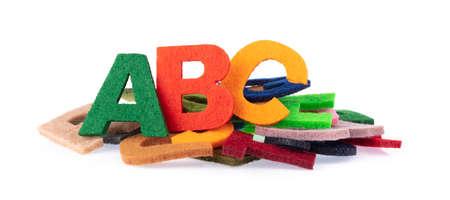 Set Alphabet is made of felt isolated on white background. Reklamní fotografie