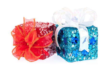 red and blue gift box with ribbon isolated on white background