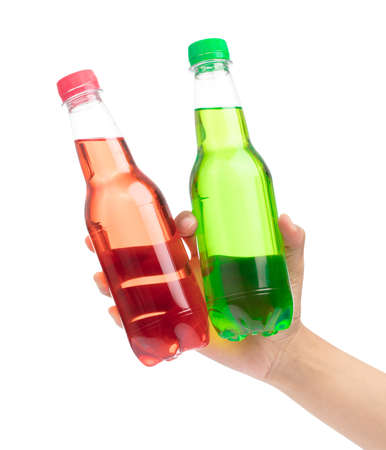 hand holding refreshing drinks in plastic bottles isolated on white background 스톡 콘텐츠