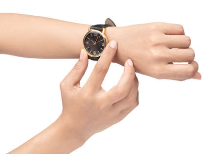 closeup luxury watch on wrist of man isolated on a white background