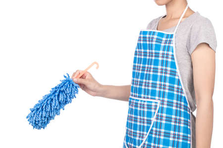 hand holding duster microfiber for cleaning the house isolated on white background Standard-Bild