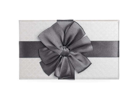 Gift color silver box with black ribbon and bow isolated on white background