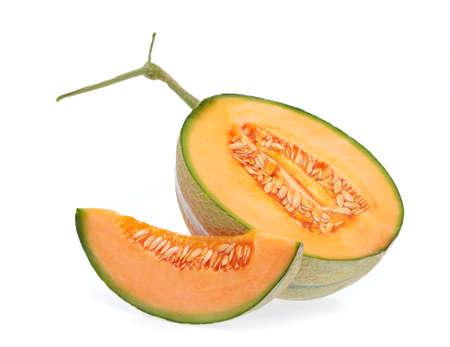 Sliced Cantaloupe melon Isolated on White Background