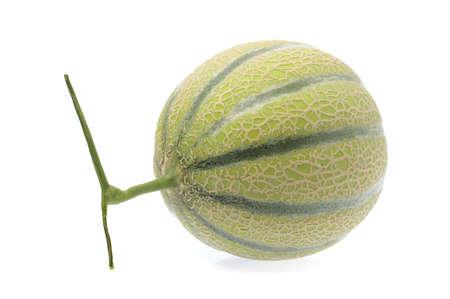 Single full Cantaloupe melon isolated on white background.