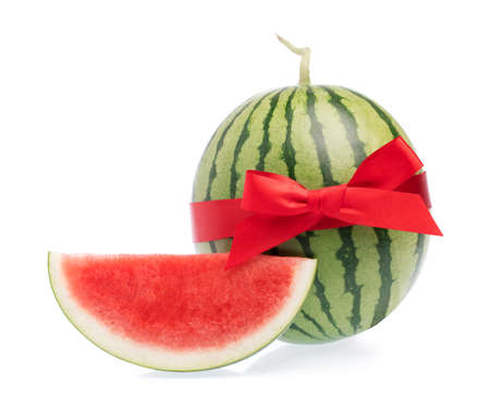 Water melon with red ribbon, isolated on white background