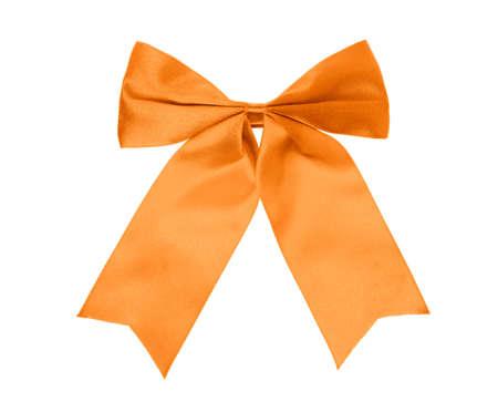 Orange bow isolated on white background.