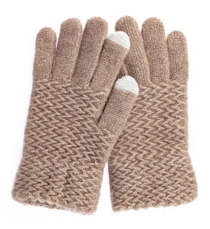 Warm woolen gloves isolated on white background