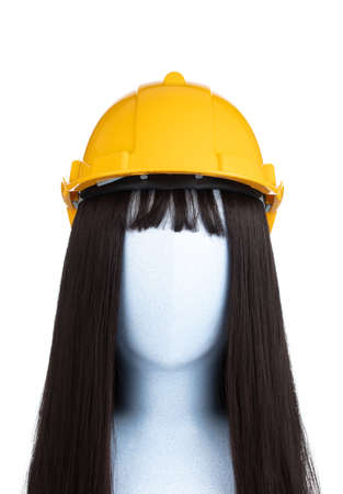 safety helmet on mannequin head isolated on white background