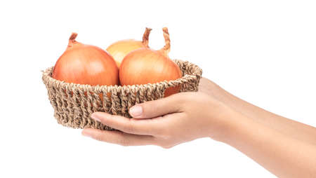 hand holding onion in basket isolated on white background
