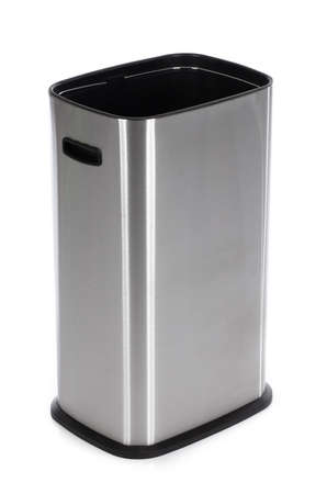 Trash Can Stainless Steel isolated on white background