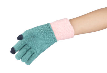 Hand in Warm woolen gloves isolated on white background Stok Fotoğraf