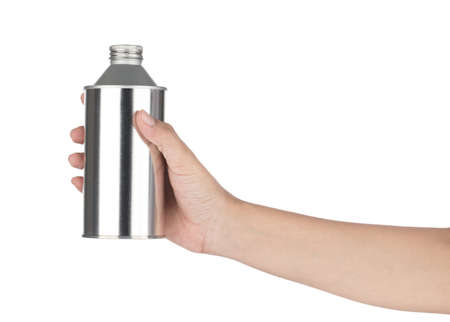 Hand holding Aluminium Bottle isolated on white background Imagens