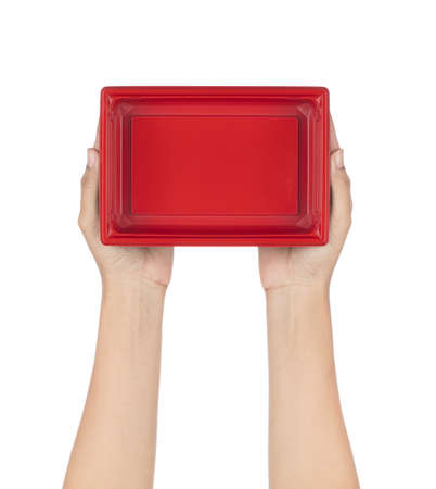 Hand holding Red and Black base Square Container Isolated on white background. Imagens