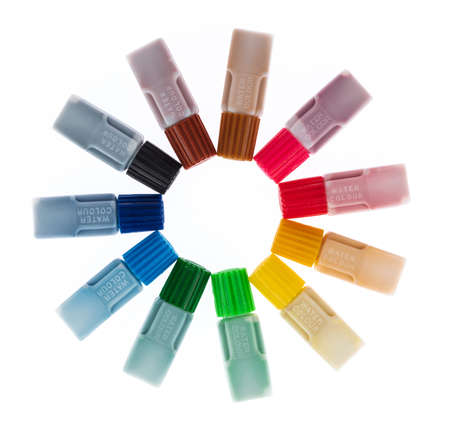 set of paint tube Colorful paints isolated on white background Imagens