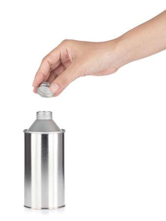hand open Aluminium Bottle isolated on white background Imagens