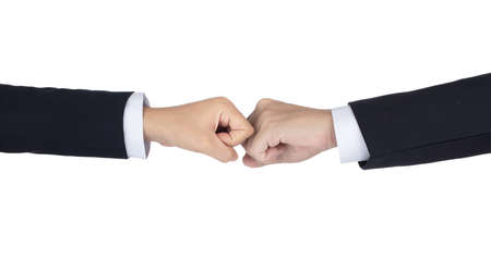 Two fists of businessman hand isolated on white background