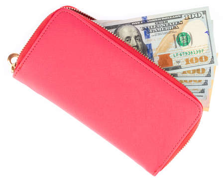 Pink Wallet Full of Hundred Dollar Bills Isolated on white background