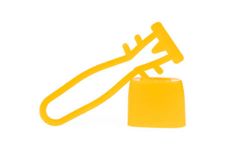 Yellow Plastic lock for mesh sack isolated on white background. 免版税图像