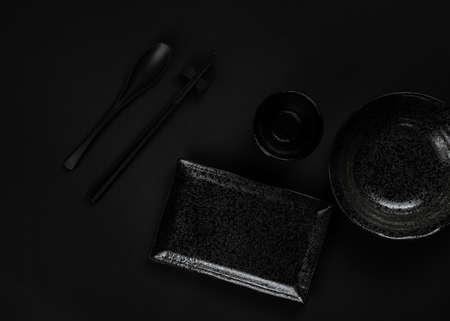 Set of Stoneware on black background