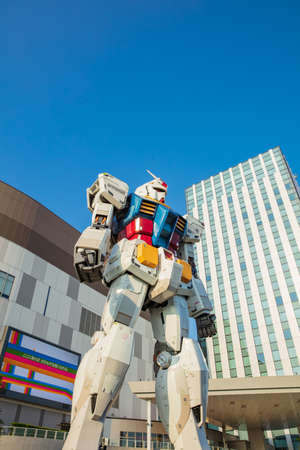 JAPAN - October 20, 2016: Mobile suit Gundam RG 1/1 RX-78-2 Ver. GFT At the main entrance of Diver City Tokyo Plaza