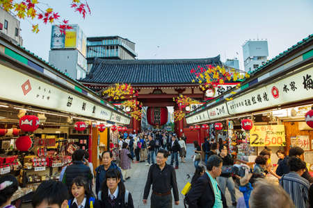 Japanese and tourists visit Nakamise-dori shopping street at Senso-ji Temple